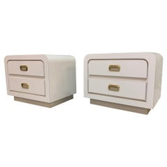 Vintage 1980s White Waterfall Nightstands