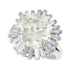 Vintage 8.24Ct Diamond and Platinum Ring by Boucheron, Circa 1950