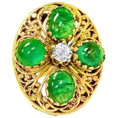 Vintage 8.50 Carat Emerald Diamond Ring in 14 Karat Gold