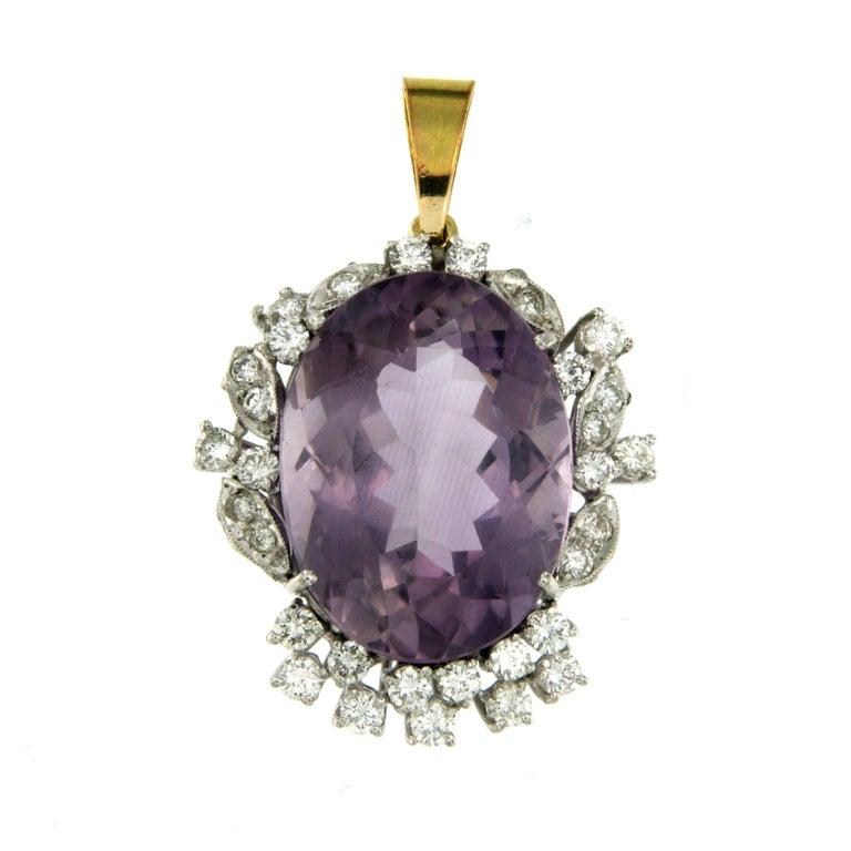 Women's Vintage 9 Carat Amethyst Diamond Gold Pendant Necklace