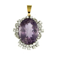 Vintage 9 Carat Amethyst Diamond Gold Pendant Necklace