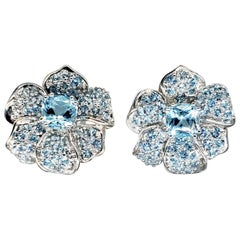 Vintage 9 Carat Aquamarine Flower Cluster Clip Earrings 14 Karat