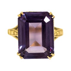 Vintage 9 Carat Gold Amethyst Cocktail Ring