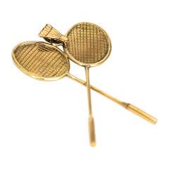 Vintage 9 Carat Gold Badminton Themed Pendant