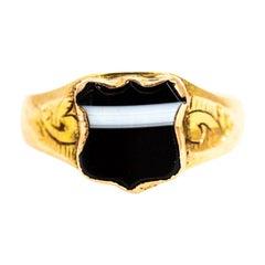 Vintage 9 Carat Gold Banded Agate Shield Signet Ring