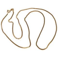 Vintage 9 Carat Gold Box Link Necklace