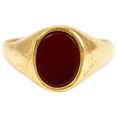 Vintage 9 Carat Gold Carnelian Signet Ring
