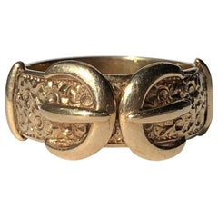 Vintage 9 Carat Gold Double Buckle Gold Band