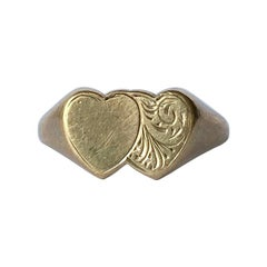 Vintage 9 Carat Gold Double Heart Signet Ring