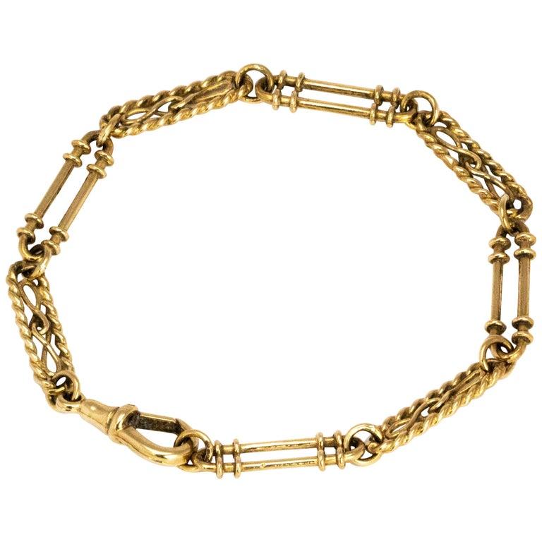 Vintage 9 Carat Gold Fancy Chain Bracelet For Sale