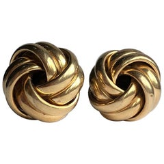 Vintage 9 Carat Gold Knot Detail Stud Earrings