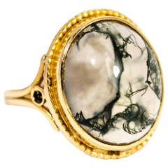 Vintage 9 Carat Gold Moss Agate Cabochon Ring