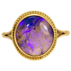 Vintage 9 Carat Gold Purple Agate Ring