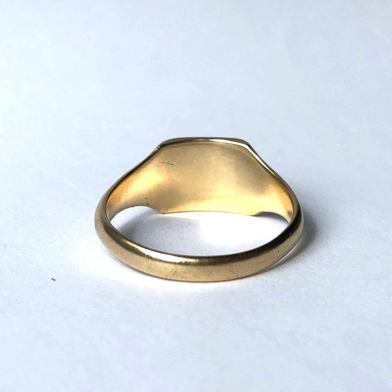 Modern Vintage 9 Carat Gold Signet Ring For Sale