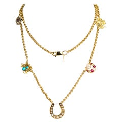 Vintage 9 Carat Gold Stone Set Charm Necklace