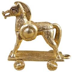 Vintage 9 Carat Gold Trojan Horse Charm with Hidden Tale Scene Inside