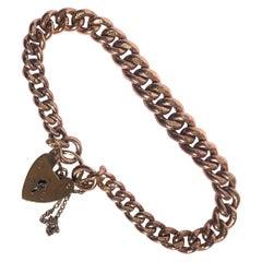 Vintage 9 Carat Rose Gold Curb Bracelet
