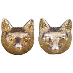 Vintage 9 Carat Rose Gold Fox Head Earrings