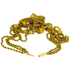 Vintage 9 Carat Triple Tier Gold Rope Twist and Orb Chain