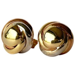 Vintage 9 Carat Triple Tone Gold Knot Stud Earring