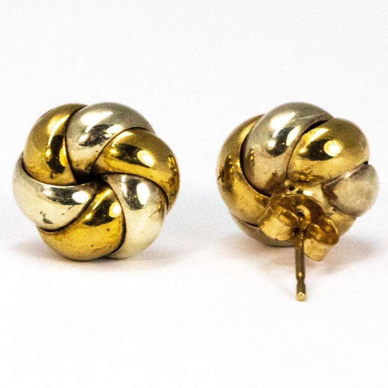 Modern Vintage 9 Carat Yellow and White Gold Knot Detail Stud Earrings