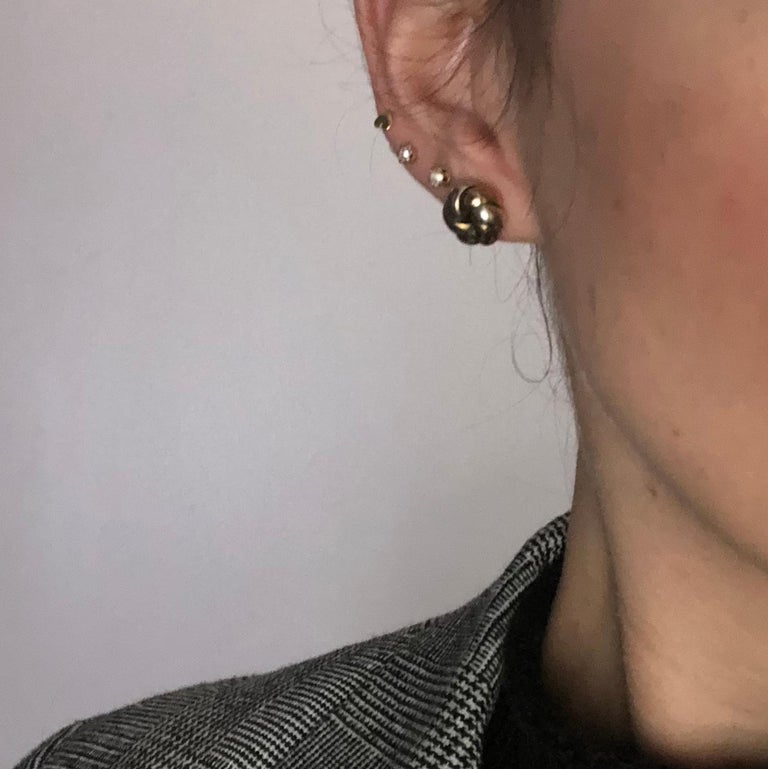 Women's Vintage 9 Carat Yellow and White Gold Knot Detail Stud Earrings