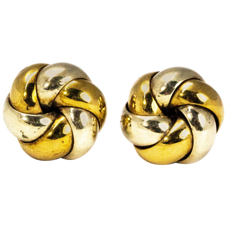 Vintage 9 Carat Yellow and White Gold Knot Detail Stud Earrings