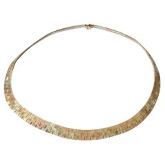 Vintage 9 Carat Yellow, Rose and White Gold Collar Necklace
