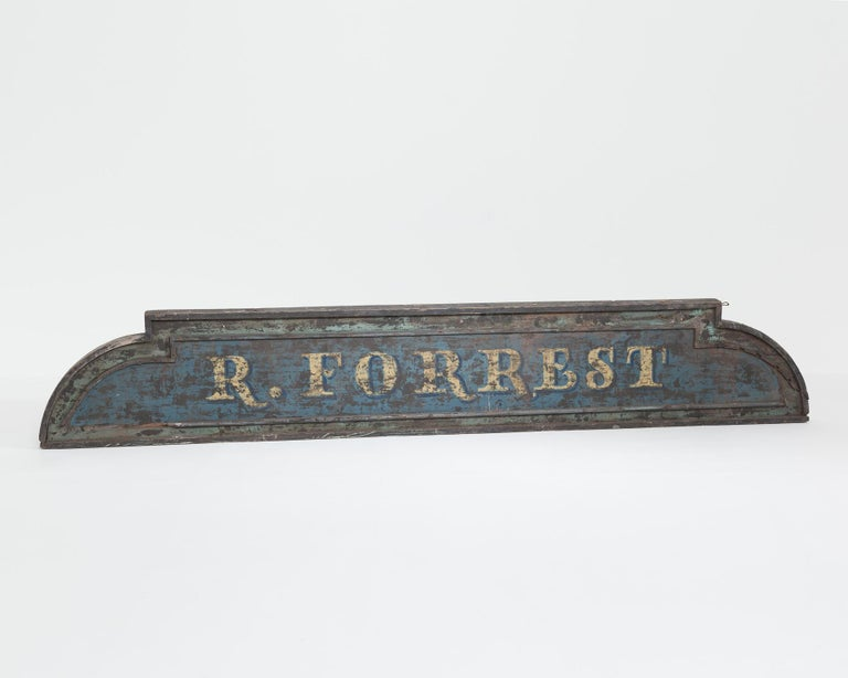 Vintage 9-Foot Wooden English Shop Sign In Good Condition For Sale In York, GB