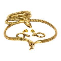 Vintage 9 Gold Snake Bracelet, Earrings and Necklace Set