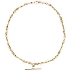 """Vintage 9 Karat Yellow Gold Fancy Twist Link Albert Watch Chain, 18"""", 43g"""