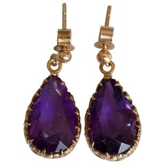 Vintage 9 Karat Gold Amethyst Teardrop Dangle Earrings London HM