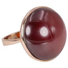 Vintage 9 Karat Gold and Carnelian Ring, 1960s