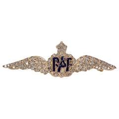 Vintage 9 Karat Gold and Diamond RAF Brooch