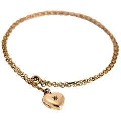 Vintage 9 Karat Gold Diamond Heart Locket and Chain