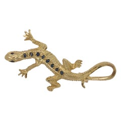 Vintage Gold Lizard Reptile Brooch with Sapphires Dated Birmingham, 1977