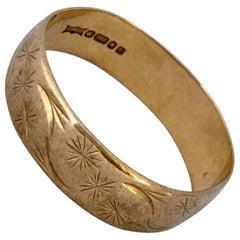Vintage 9 Karat Gold Patterned R Size '8.3' Weeding Band