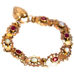 Vintage 9 Karat Gold Ruby and Opal Bracelet