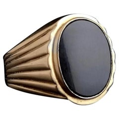 Vintage 9 Karat Yellow Gold Onyx Signet Ring, Large