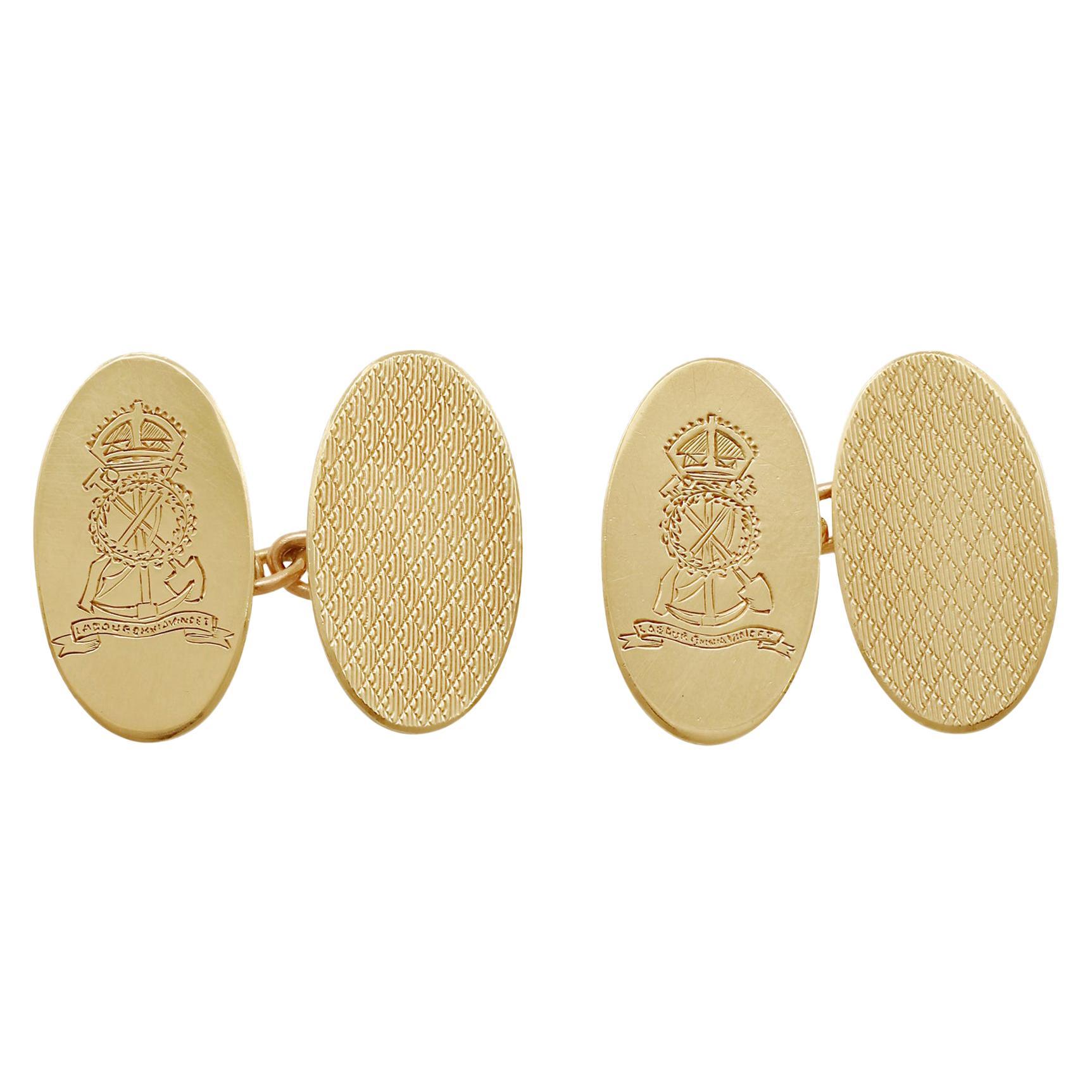 Vintage 9 Karat Yellow Gold Regimental Cufflinks