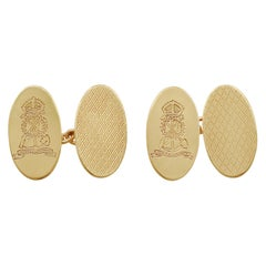 Vintage 9 Karat Yellow Gold Regimental Cufflinks