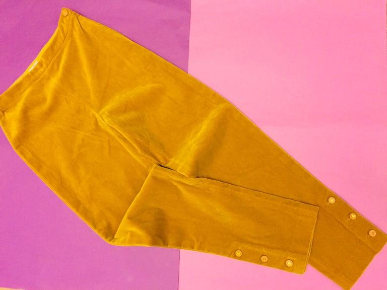 Women's Vintage 90s Chanel Beige Velvet Pants  For Sale
