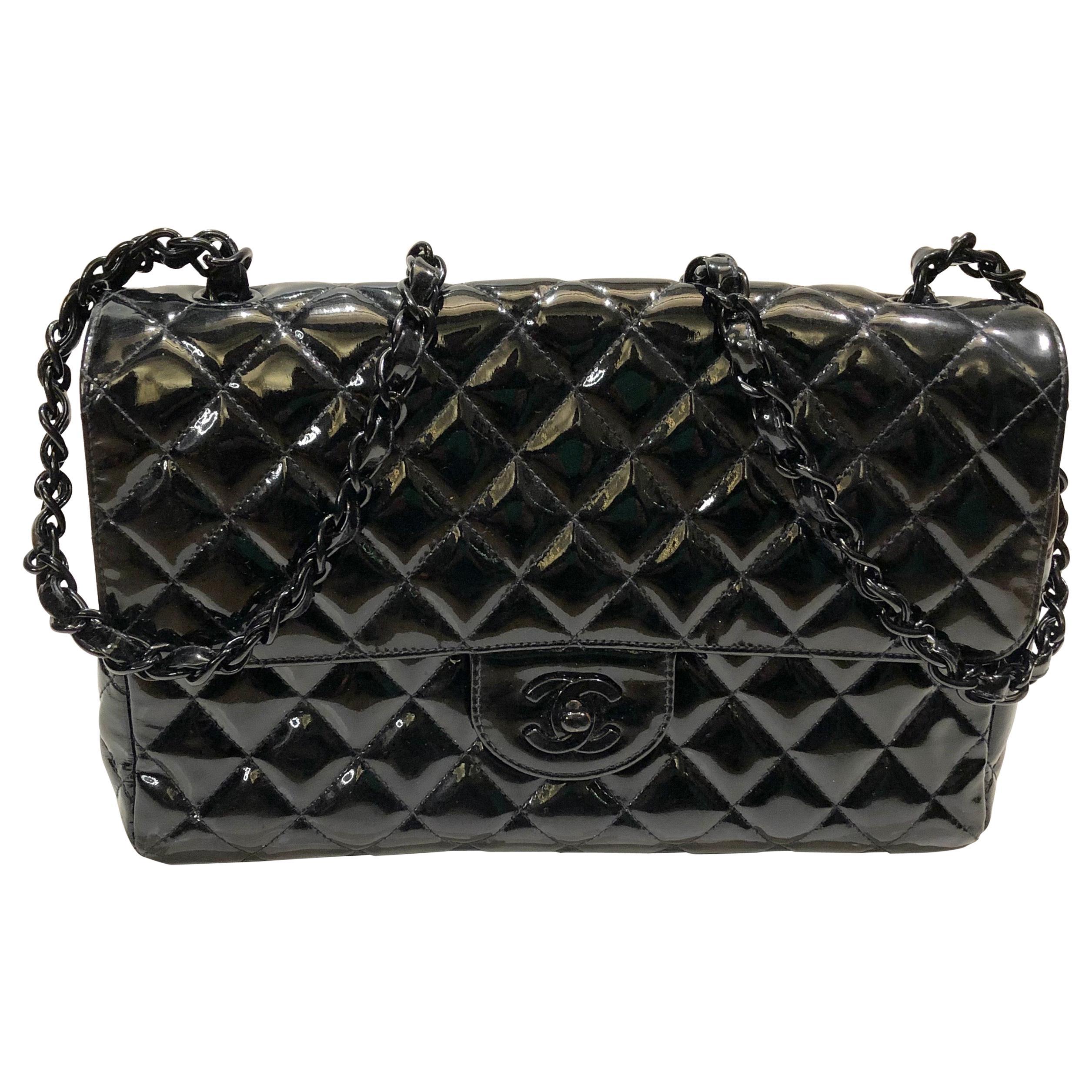 Vintage 90s Chanel Black Patent Leather Shoulder Flap Bag