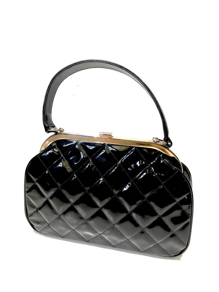 Women's or Men's Vintage 90s Chanel Classic Black Quilted Patent Handbag For Sale
