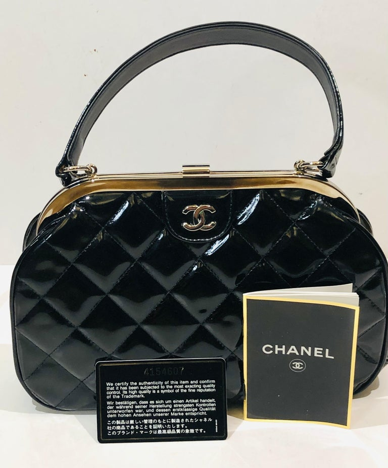 Vintage 90s Chanel Classic Black Quilted Patent Handbag For Sale 5