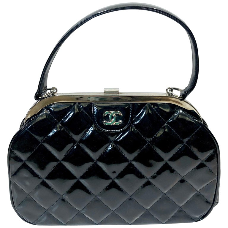 Vintage 90s Chanel Classic Black Quilted Patent Handbag For Sale