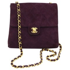Vintage 90's Chanel Timeless Purple Suede Bag