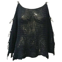 Vintage 90s Grunge Knitted Chain Sleeve Top