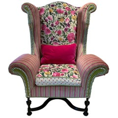 Vintage 90s William & Mary Style Monumental Wingback Armchair with Rolled Arms