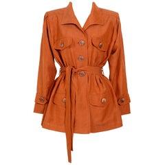 "Vintage 90s Yves Saint Laurent ""rive gauche"" silk blend roomy safari jacket"